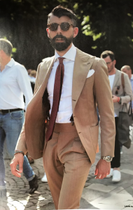 Beige & Brown Suit
